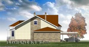 Одноэтажный загородный дом с эркеером