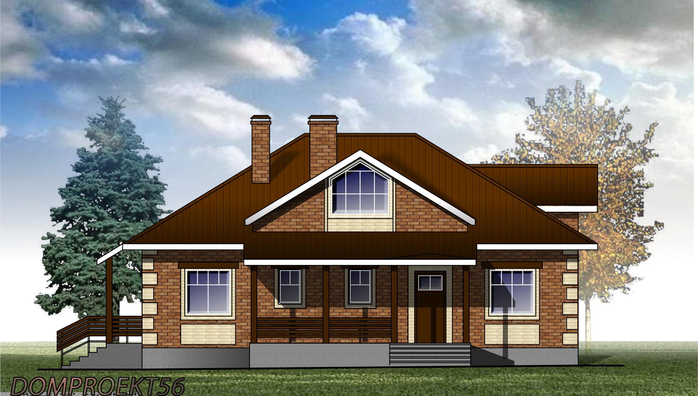 Одноэтажный дом площадью 120 кв.м.  Проект 20-12