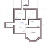 План подвала одноэтажного жилого дом с гаражом и баней