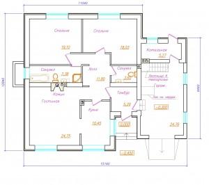 проект одноэтажного дома с гаражом