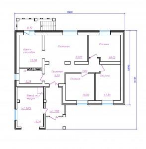 одноэтажный загородный дом. проект 20-13