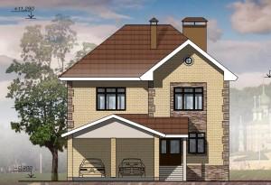 Двухэтажный дом с навесом для 2-х а/м.  Проект 10-13