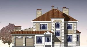 Двухэтажный дом с гаражом и банным комплексом.  Проект 12-12