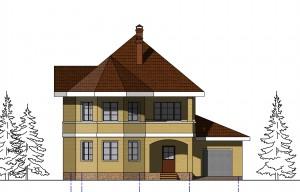 Проект двухэтажного дома с эркером .  Проект 03-13