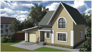 Мансардный жилой дом с гаражом. Проект 13-14.