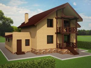 Мансардный жилой дом с гаражом .  Проект  45-13