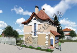 Двухэтажный дачный дом.  Проект 17-15