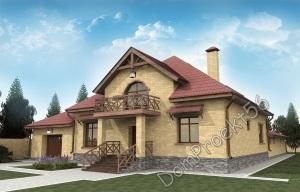 Мансардный загородный дом с баней и гаражом на 2 а/м .  Проект 22-15