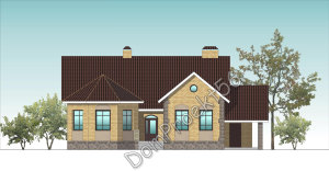 Одноэтажный дом с эркером  Проект  04-15