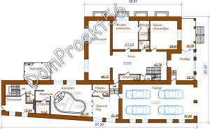 Plan 1-go et  2-h etajniy  dom s garajom na 4 avto
