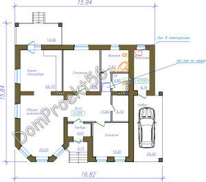 Проект одноэтажного дома с навесом для машины