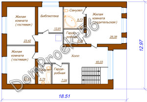 Plan 2-go et  2-h etajniy  dom s garajom na 4 avto