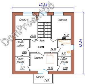 Plan 2-go etaja mansardniy dom s baney i garajdm