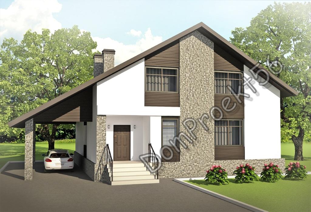 Мансардный дом с двускатной крышей. Проект 41-13
