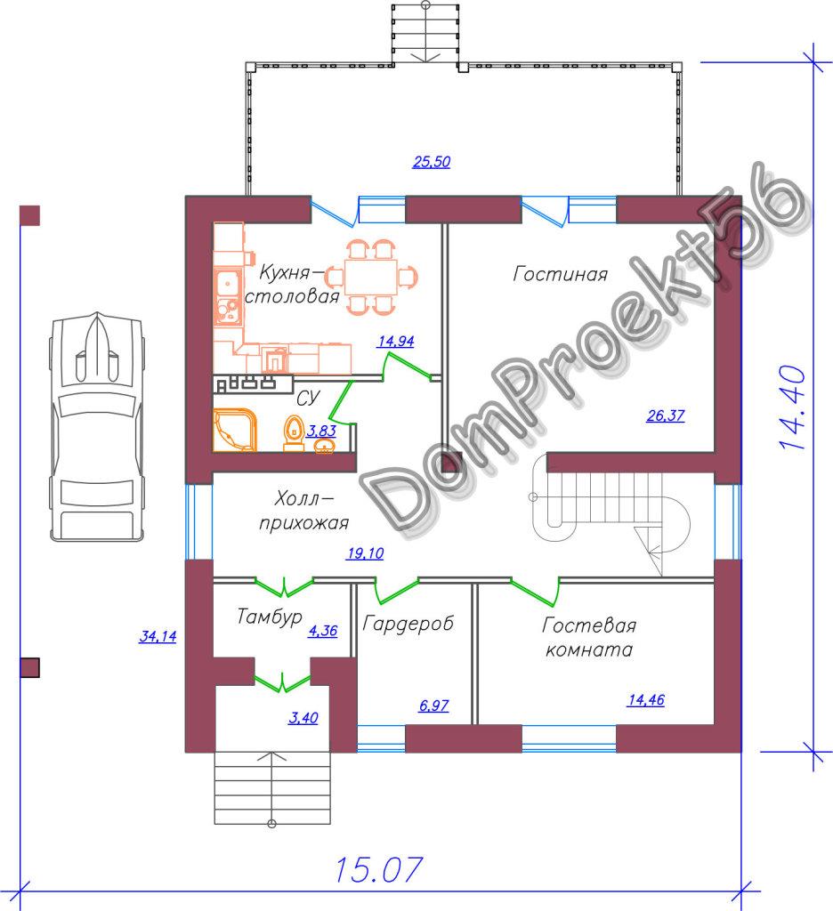 mansardniy_ dom_s_dvuskatnoy_krishey_plan_1_go_etaja