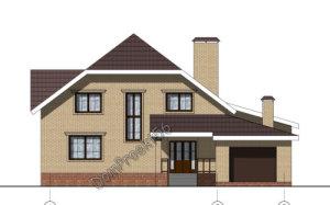 Мансардный жилой дом с большой террасой и гаражом. Проект 32-13