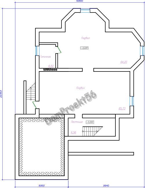 Одноэтажный дом План подвала