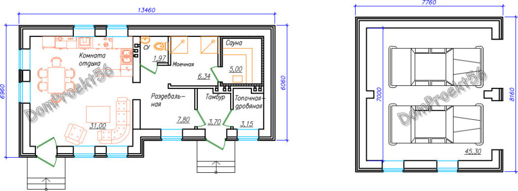 Планировка бани и гаража  К варианту 1