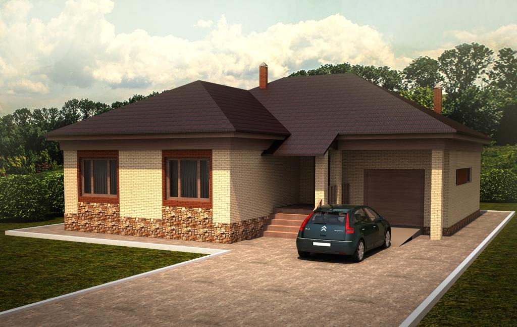 Одноэтажный дом из кирпича  Проект 44-13