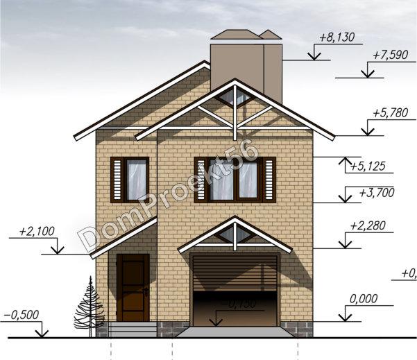 Двухэтажный дом для узкого участка. Проект с гаражом 20-16.